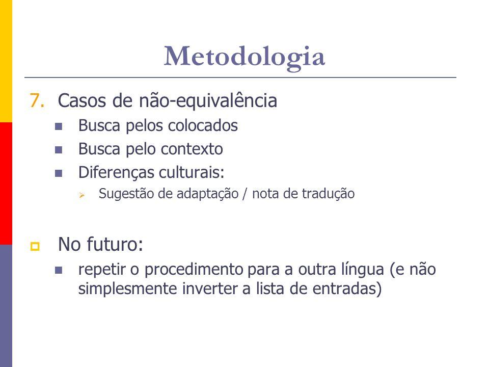 Metodologia 7.Casos de não-equivalência Busca pelos colocados Busca pelo contexto Diferenças culturais: Sugestão de adaptação / nota de tradução No fu