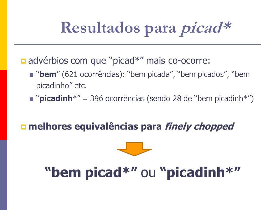 advérbios com que picad* mais co-ocorre: bem (621 ocorrências): bem picada, bem picados, bem picadinho etc. picadinh* = 396 ocorrências (sendo 28 de b