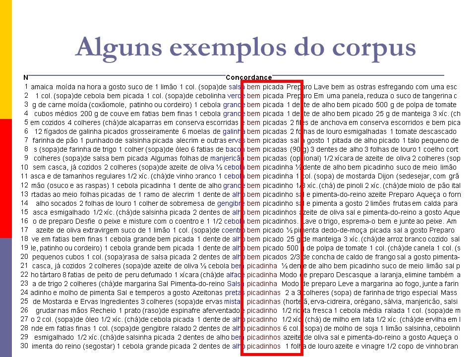 Alguns exemplos do corpus