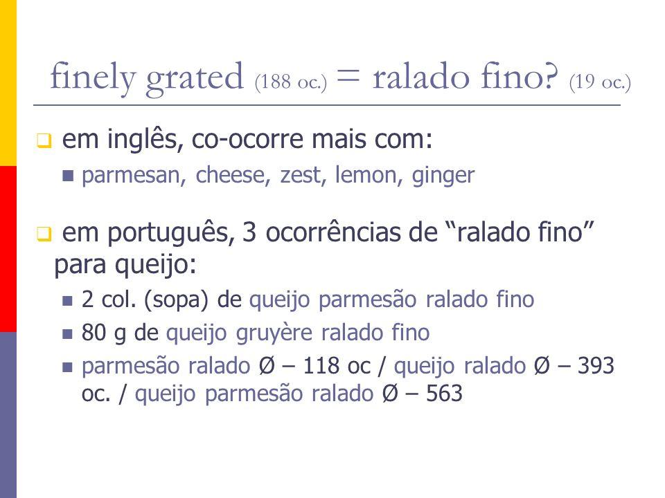 em inglês, co-ocorre mais com: parmesan, cheese, zest, lemon, ginger em português, 3 ocorrências de ralado fino para queijo: 2 col. (sopa) de queijo p