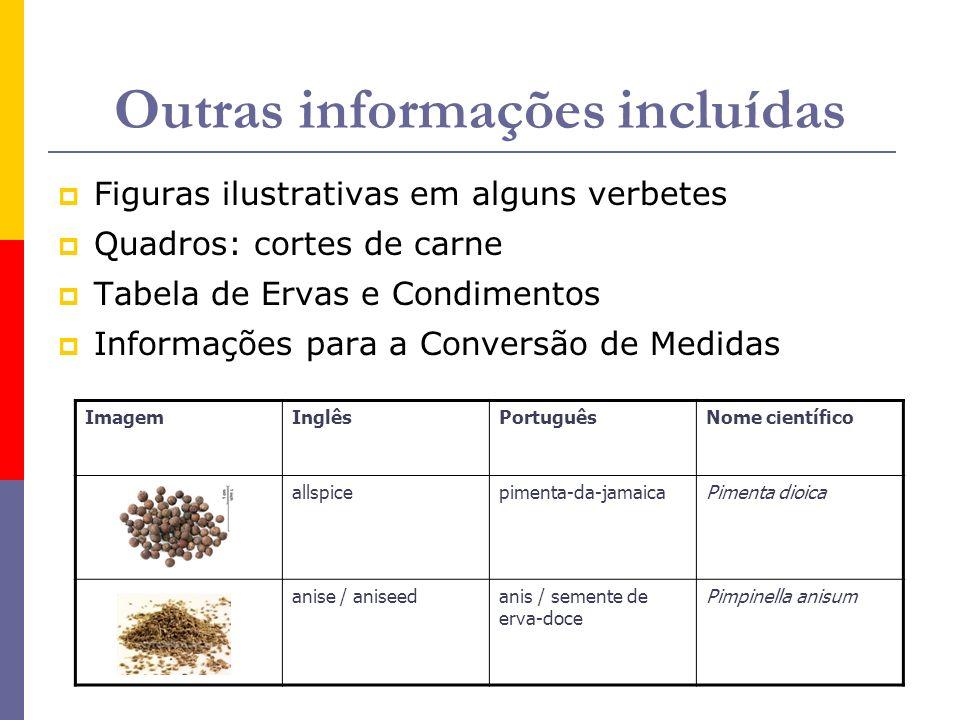 Outras informações incluídas Figuras ilustrativas em alguns verbetes Quadros: cortes de carne Tabela de Ervas e Condimentos Informações para a Convers