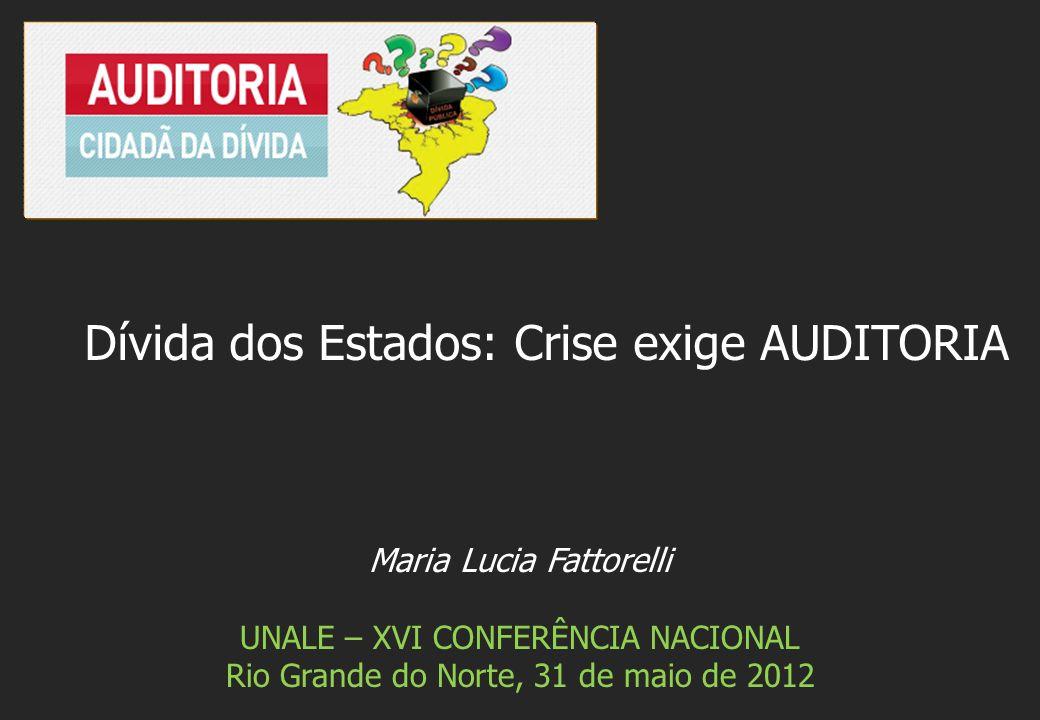 Maria Lucia Fattorelli UNALE – XVI CONFERÊNCIA NACIONAL Rio Grande do Norte, 31 de maio de 2012 Dívida dos Estados: Crise exige AUDITORIA