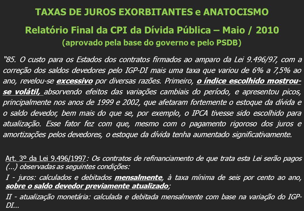 TAXAS DE JUROS EXORBITANTES e ANATOCISMO Relatório Final da CPI da Dívida Pública – Maio / 2010 (aprovado pela base do governo e pelo PSDB) 85.