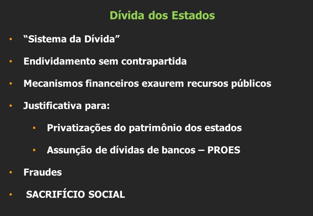 Dívida dos Estados Sistema da Dívida Endividamento sem contrapartida Mecanismos financeiros exaurem recursos públicos Justificativa para: Privatizaçõe