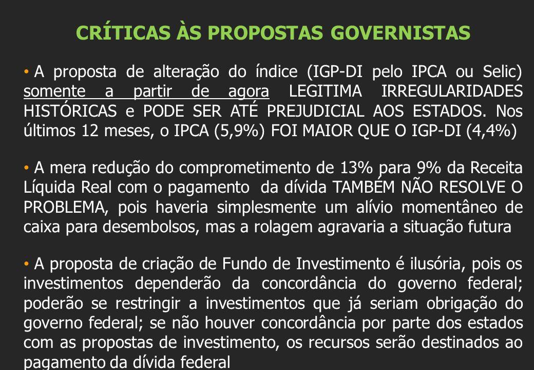 CRÍTICAS ÀS PROPOSTAS GOVERNISTAS A proposta de alteração do índice (IGP-DI pelo IPCA ou Selic) somente a partir de agora LEGITIMA IRREGULARIDADES HISTÓRICAS e PODE SER ATÉ PREJUDICIAL AOS ESTADOS.