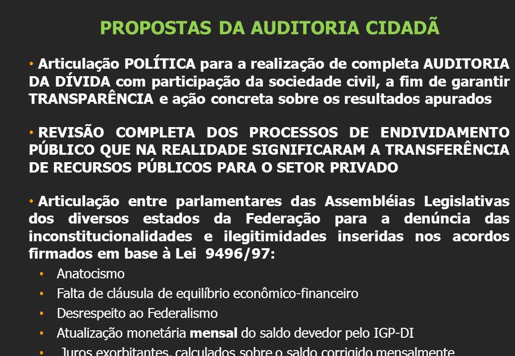 PROPOSTAS DA AUDITORIA CIDADÃ Articulação POLÍTICA para a realização de completa AUDITORIA DA DÍVIDA com participação da sociedade civil, a fim de gar