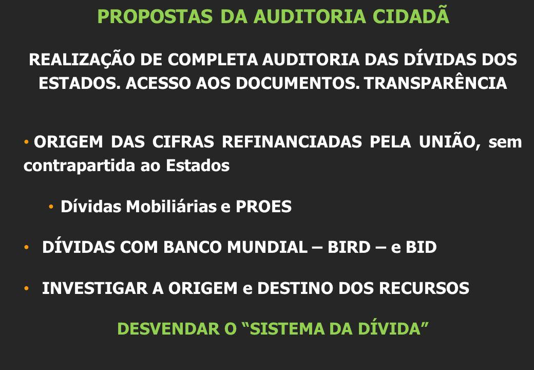 PROPOSTAS DA AUDITORIA CIDADÃ REALIZAÇÃO DE COMPLETA AUDITORIA DAS DÍVIDAS DOS ESTADOS.