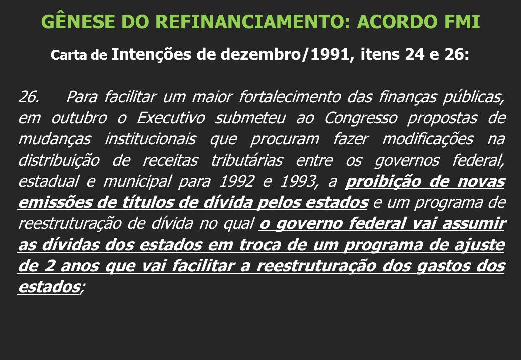 GÊNESE DO REFINANCIAMENTO: ACORDO FMI Carta de Intenções de dezembro/1991, itens 24 e 26: 26.Para facilitar um maior fortalecimento das finanças públi