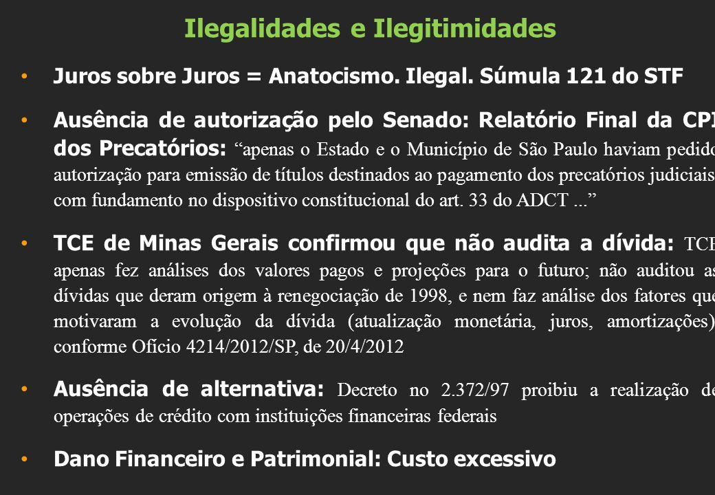 Ilegalidades e Ilegitimidades Juros sobre Juros = Anatocismo. Ilegal. Súmula 121 do STF Ausência de autorização pelo Senado: Relatório Final da CPI do