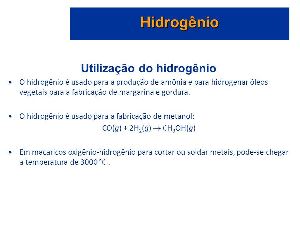 Utilização do hidrogênio O hidrogênio é usado para a produção de amônia e para hidrogenar óleos vegetais para a fabricação de margarina e gordura.