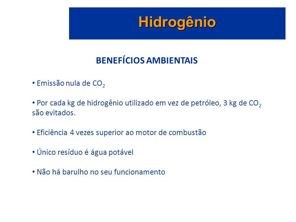 Hidrogênio BENEFÍCIOS AMBIENTAIS Emissão nula de CO 2 Por cada kg de hidrogênio utilizado em vez de petróleo, 3 kg de CO 2 são evitados.
