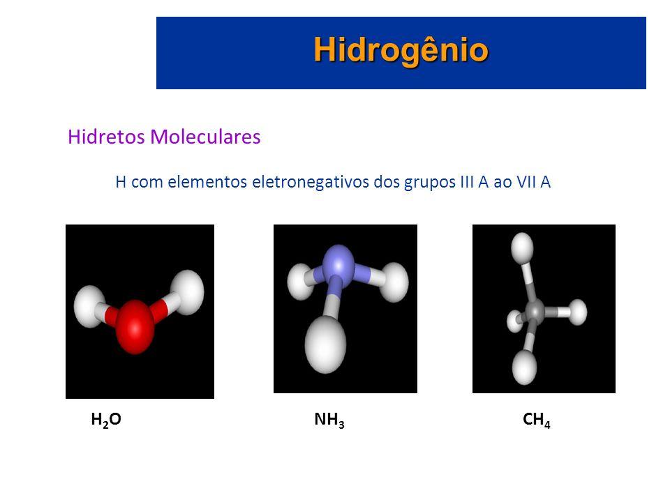 Hidrogênio Hidretos Moleculares H com elementos eletronegativos dos grupos III A ao VII A H 2 O NH 3 CH 4
