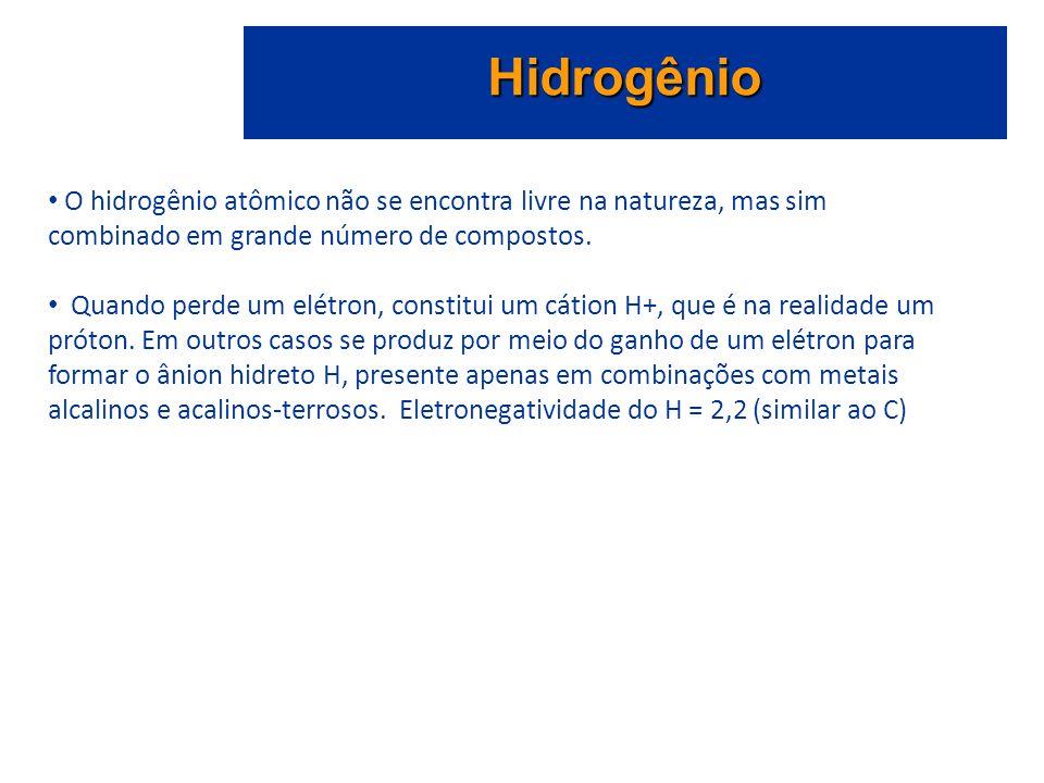 Hidrogênio O hidrogênio atômico não se encontra livre na natureza, mas sim combinado em grande número de compostos. Quando perde um elétron, constitui