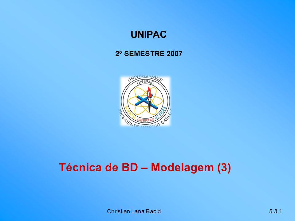 Christien Lana Racid5.3.1 Técnica de BD – Modelagem (3) UNIPAC 2º SEMESTRE 2007