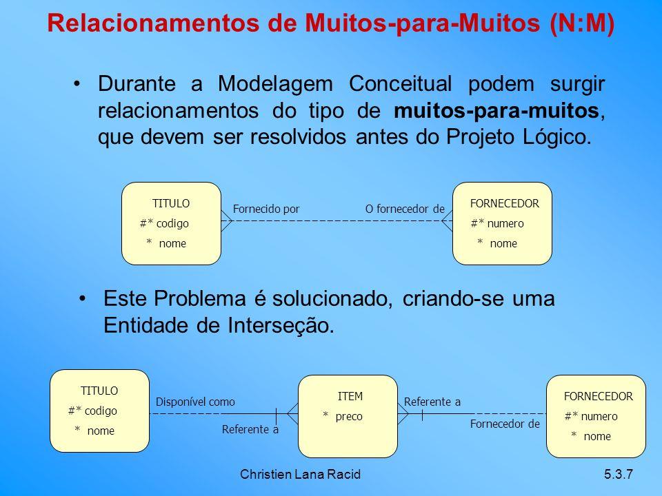 Christien Lana Racid5.3.7 Relacionamentos de Muitos-para-Muitos (N:M) Durante a Modelagem Conceitual podem surgir relacionamentos do tipo de muitos-para-muitos, que devem ser resolvidos antes do Projeto Lógico.