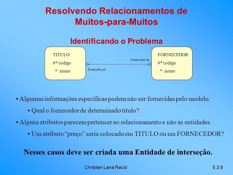 Christien Lana Racid5.3.8 Resolvendo Relacionamentos de Muitos-para-Muitos Identificando o Problema TITULO #* codigo * nome FORNECEDOR #* codigo * nome Fornecido por Fornecedor de Algumas informações específicas podem não ser fornecidas pelo modelo.