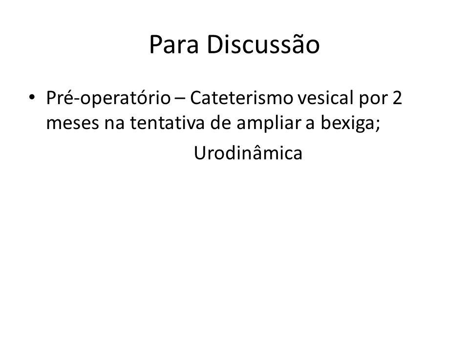 Para Discussão Pré-operatório – Cateterismo vesical por 2 meses na tentativa de ampliar a bexiga; Urodinâmica