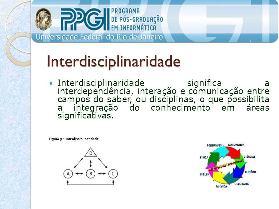 Interdisciplinaridade Interdisciplinaridade significa a interdependência, interação e comunicação entre campos do saber, ou disciplinas, o que possibilita a integração do conhecimento em áreas significativas.