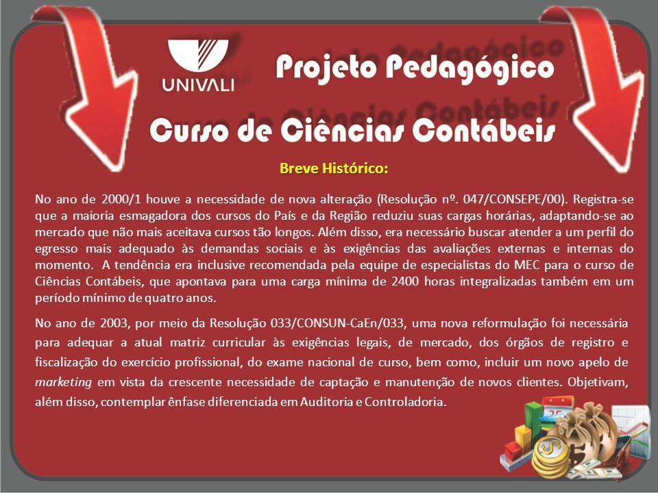Breve Histórico: Em 2007 novamente a Matriz Curricular foi alterada, pela Resolução 116/CONSUN – CaEN/07.