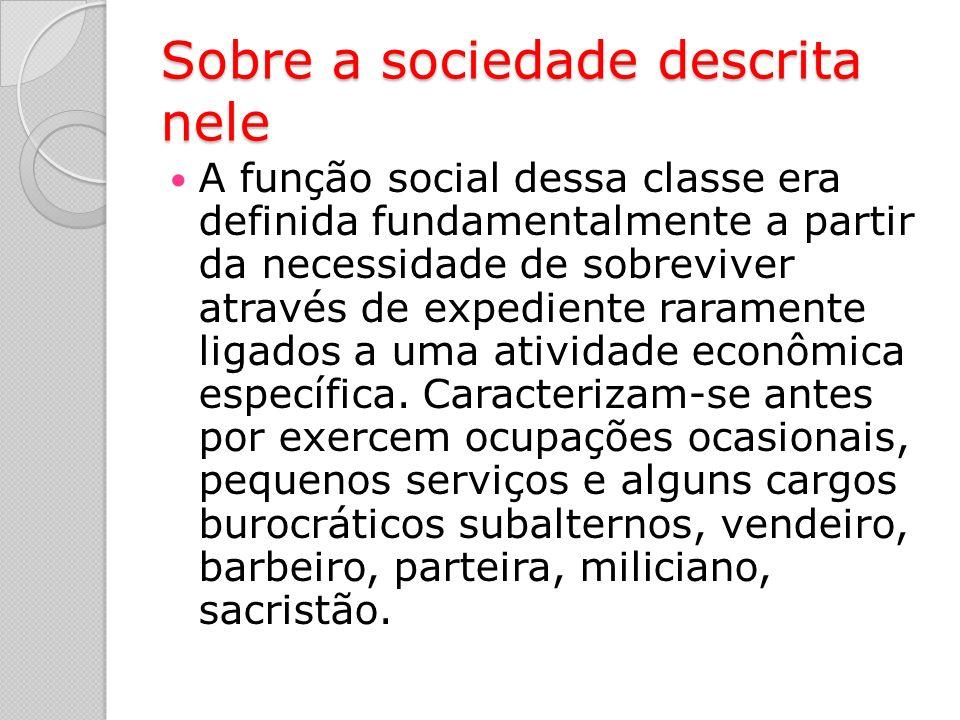 Sobre a sociedade descrita nele A função social dessa classe era definida fundamentalmente a partir da necessidade de sobreviver através de expediente raramente ligados a uma atividade econômica específica.