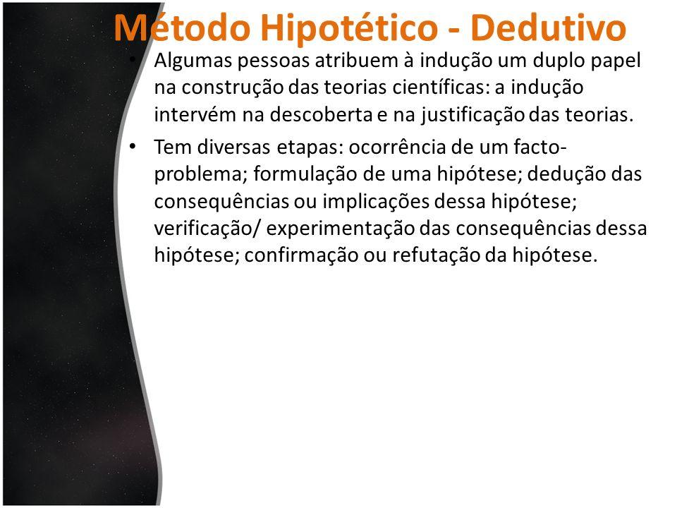 Método Hipotético - Dedutivo Algumas pessoas atribuem à indução um duplo papel na construção das teorias científicas: a indução intervém na descoberta
