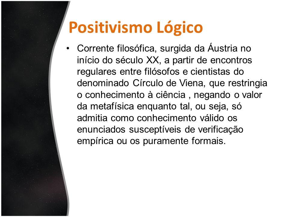 Positivismo Lógico Corrente filosófica, surgida da Áustria no início do século XX, a partir de encontros regulares entre filósofos e cientistas do den