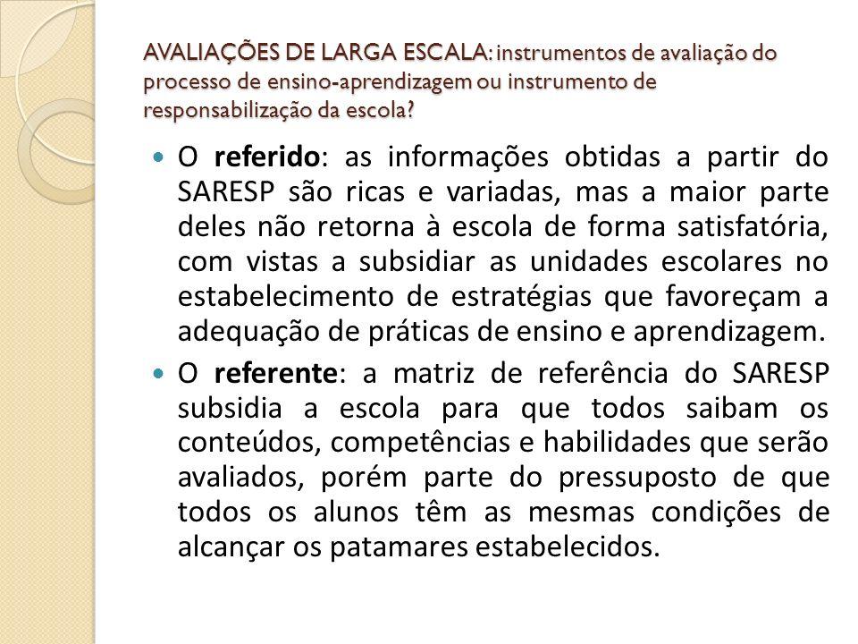AVALIAÇÕES DE LARGA ESCALA: instrumentos de avaliação do processo de ensino-aprendizagem ou instrumento de responsabilização da escola? O referido: as