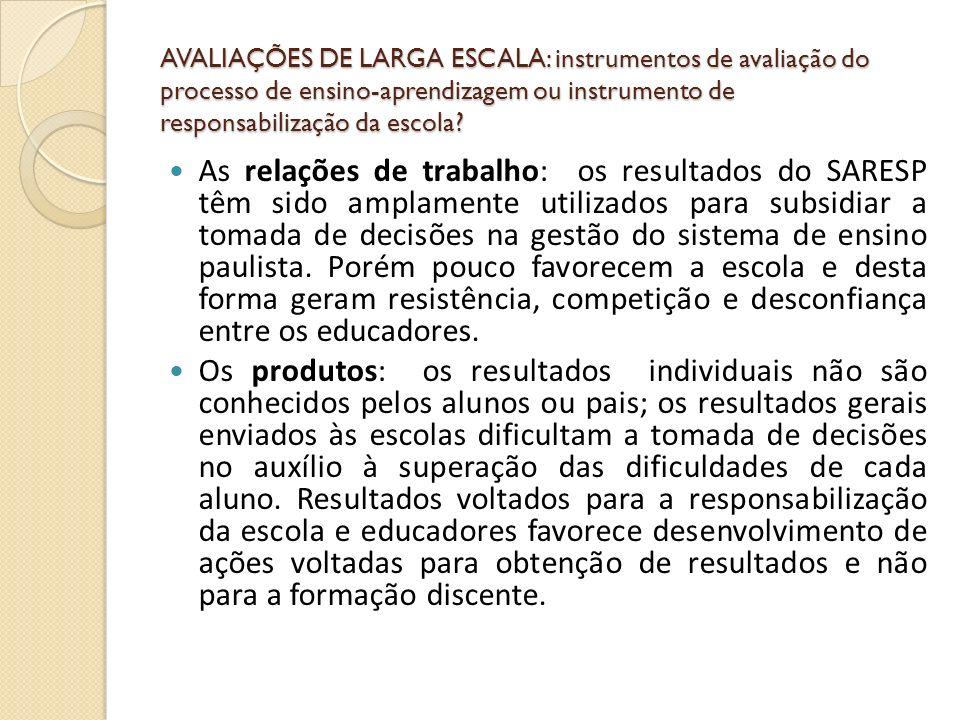 AVALIAÇÕES DE LARGA ESCALA: instrumentos de avaliação do processo de ensino-aprendizagem ou instrumento de responsabilização da escola? As relações de