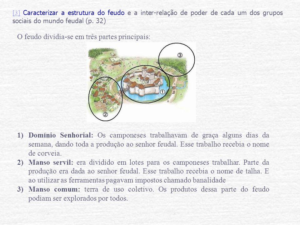 [3][3] Caracterizar a estrutura do feudo e a inter-relação de poder de cada um dos grupos sociais do mundo feudal (p. 32) O feudo dividia-se em três p