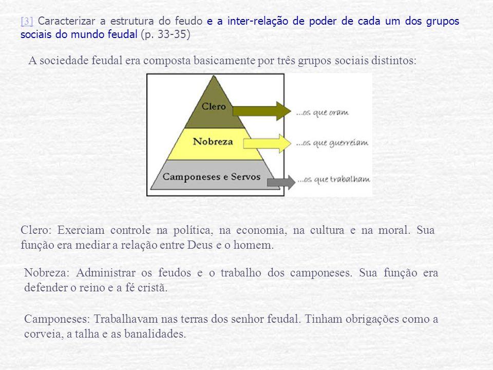 [3][3] Caracterizar a estrutura do feudo e a inter-relação de poder de cada um dos grupos sociais do mundo feudal (p. 33-35) A sociedade feudal era co