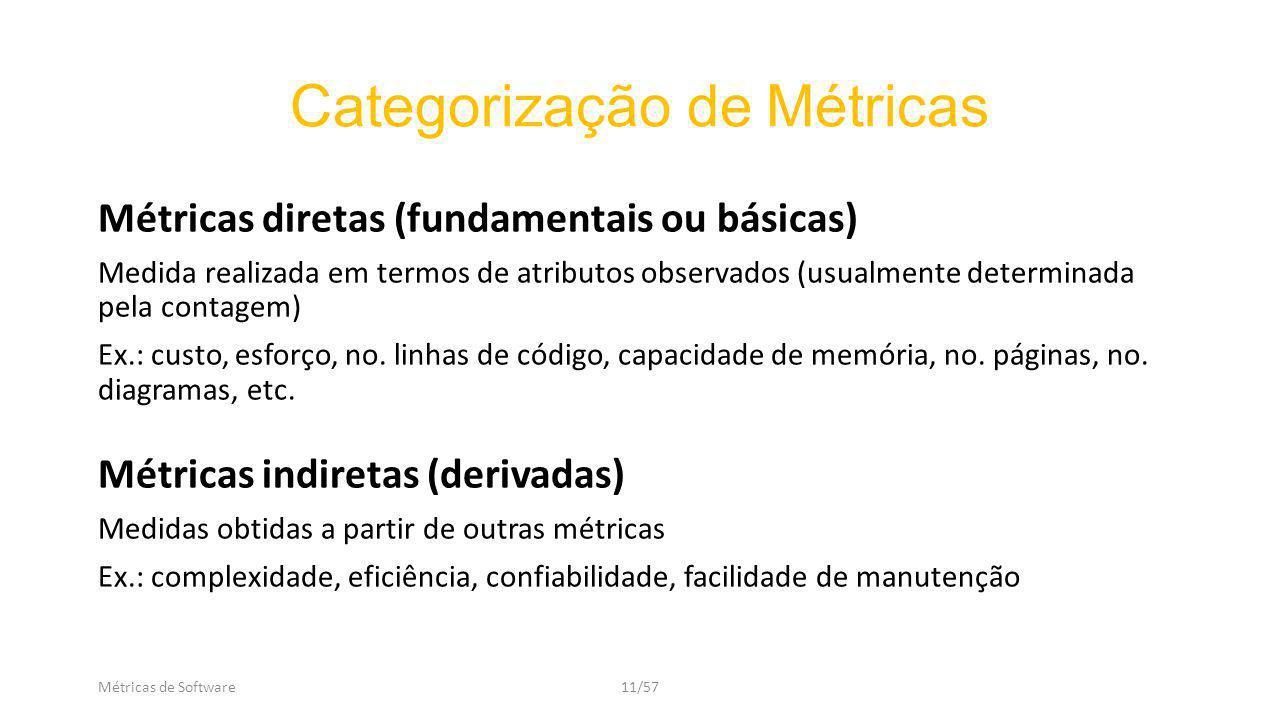 Métricas de Software11/57 Categorização de Métricas Métricas diretas (fundamentais ou básicas) Medida realizada em termos de atributos observados (usualmente determinada pela contagem) Ex.: custo, esforço, no.