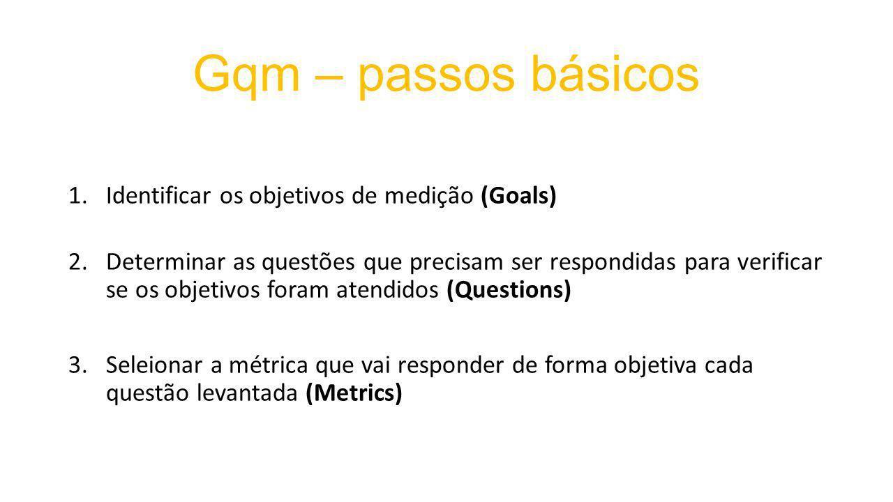Gqm – passos básicos 1.Identificar os objetivos de medição (Goals) 2.Determinar as questões que precisam ser respondidas para verificar se os objetivos foram atendidos (Questions) 3.Seleionar a métrica que vai responder de forma objetiva cada questão levantada (Metrics)