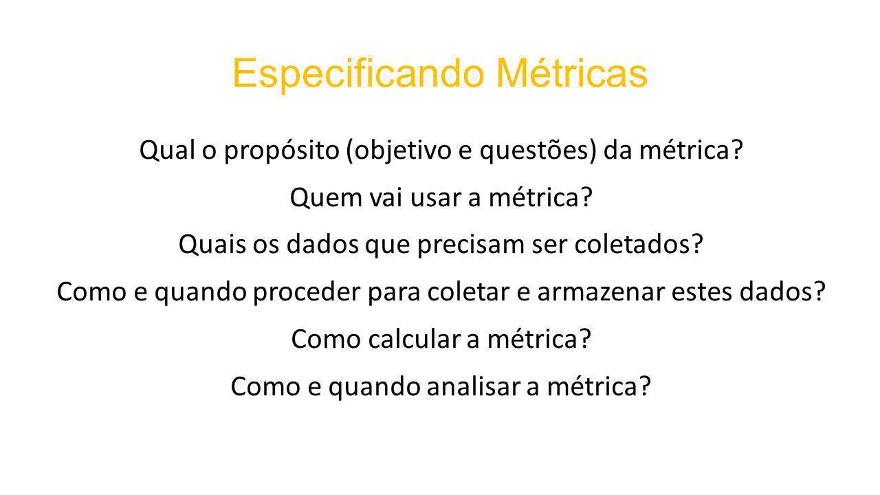 Especificando Métricas Qual o propósito (objetivo e questões) da métrica.