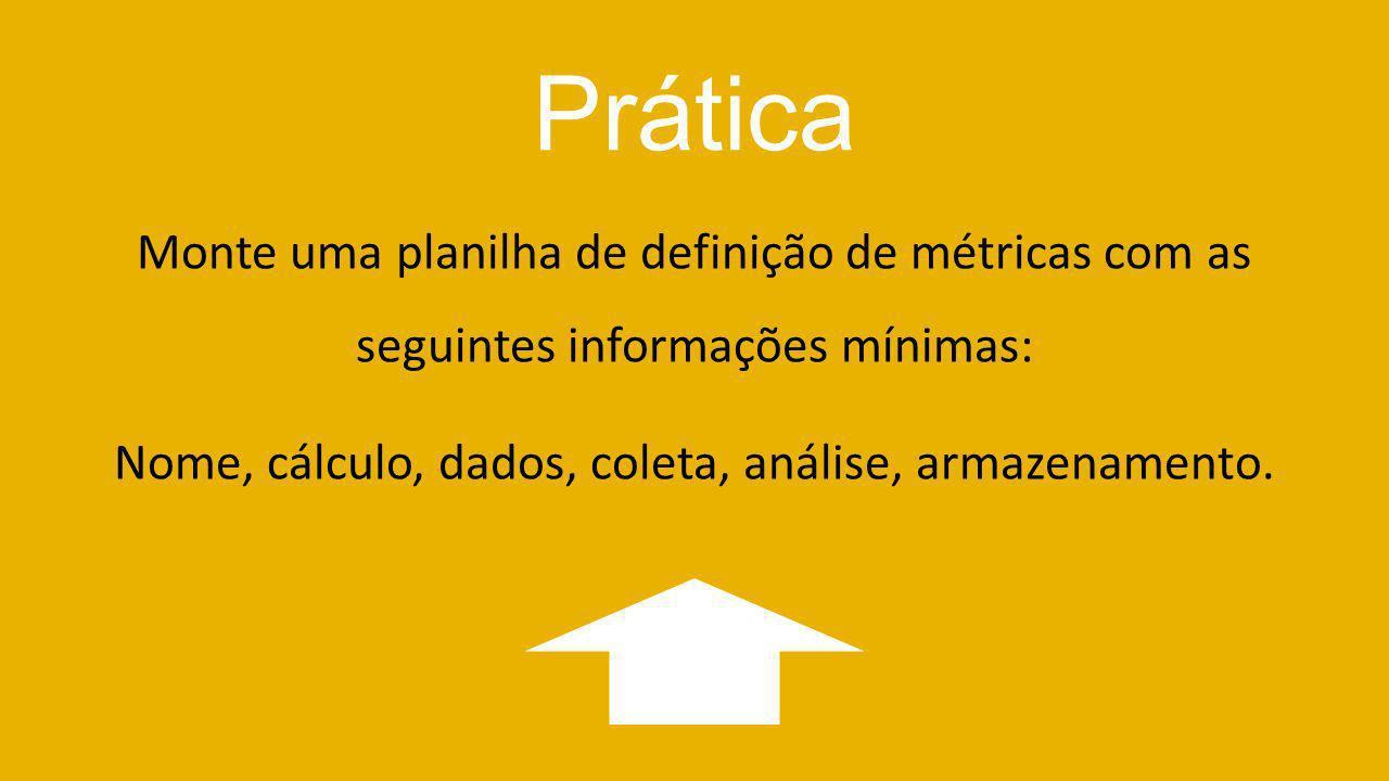 Prática Monte uma planilha de definição de métricas com as seguintes informações mínimas: Nome, cálculo, dados, coleta, análise, armazenamento.