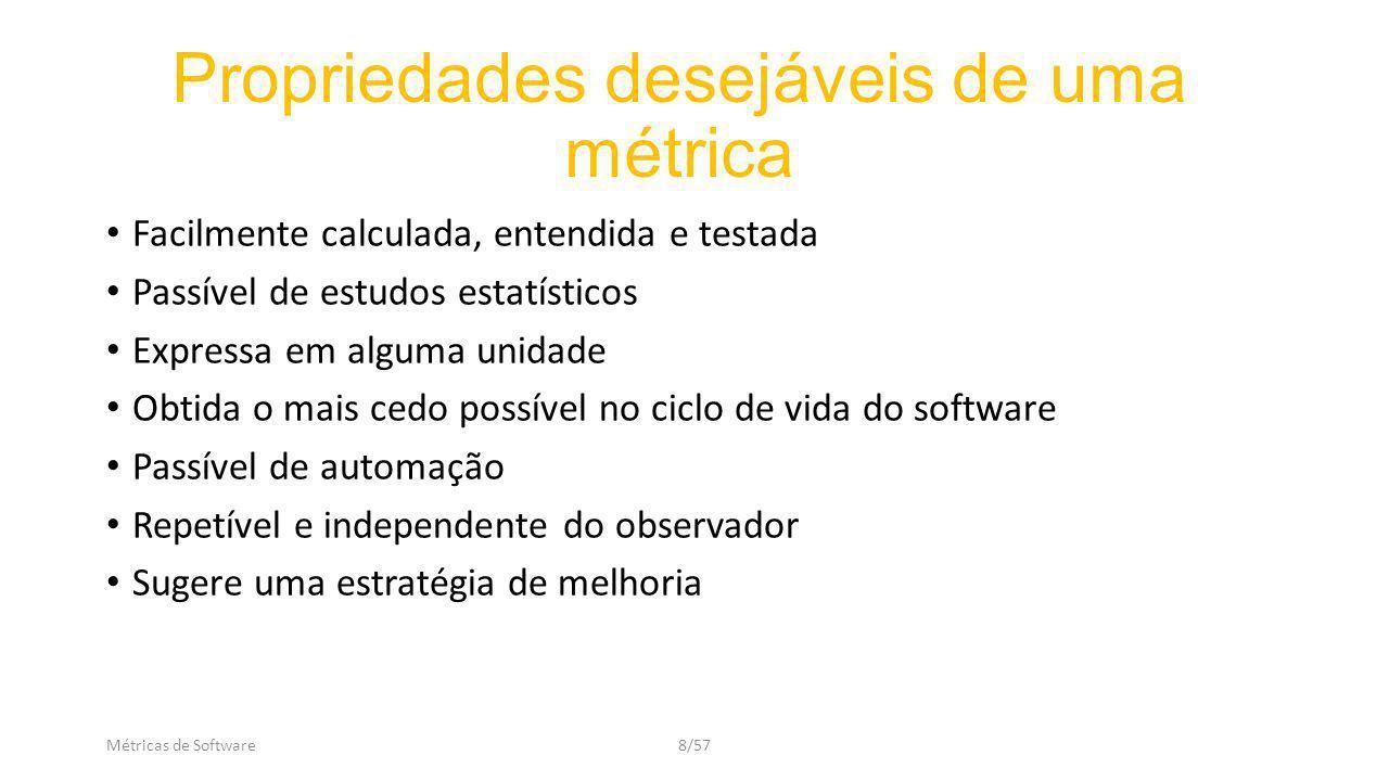Métricas de Software9/57 Uma métrica deve ser: Válida: quantifica o que queremos medir.