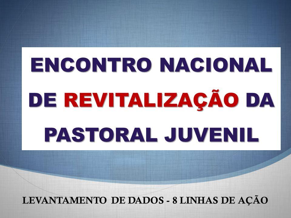 ENCONTRO NACIONAL DE REVITALIZAÇÃO DA PASTORAL JUVENIL LEVANTAMENTO DE DADOS - 8 LINHAS DE AÇÃO