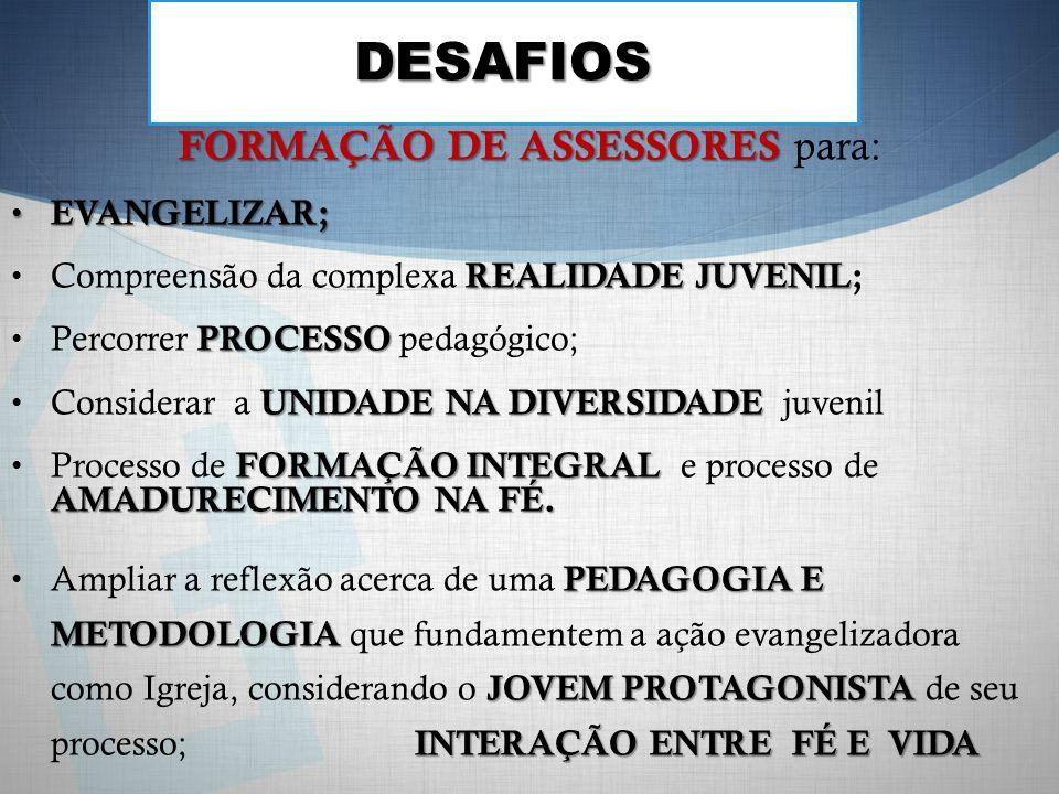 DESAFIOS FORMAÇÃO DE ASSESSORES FORMAÇÃO DE ASSESSORES para: EVANGELIZAR; EVANGELIZAR; REALIDADE JUVENIL Compreensão da complexa REALIDADE JUVENIL; PROCESSO Percorrer PROCESSO pedagógico; UNIDADE NA DIVERSIDADE Considerar a UNIDADE NA DIVERSIDADE juvenil FORMAÇÃO INTEGRAL AMADURECIMENTO NA FÉ.