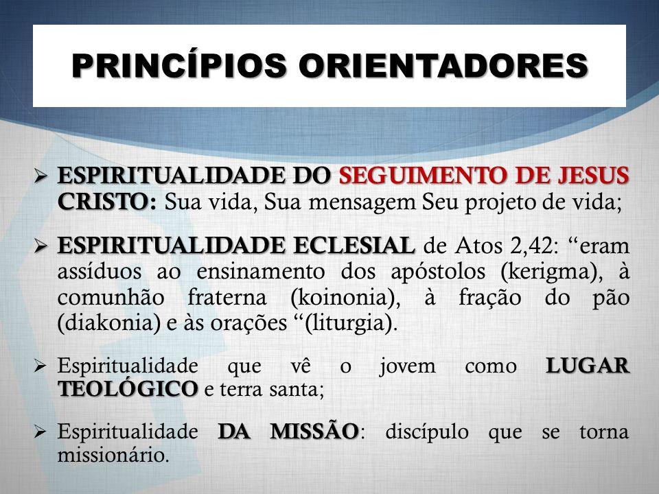 PRINCÍPIOS ORIENTADORES ESPIRITUALIDADE DO SEGUIMENTO DE JESUS CRISTO ESPIRITUALIDADE DO SEGUIMENTO DE JESUS CRISTO: Sua vida, Sua mensagem Seu projeto de vida; ESPIRITUALIDADE ECLESIAL ESPIRITUALIDADE ECLESIAL de Atos 2,42: eram assíduos ao ensinamento dos apóstolos (kerigma), à comunhão fraterna (koinonia), à fração do pão (diakonia) e às orações (liturgia).