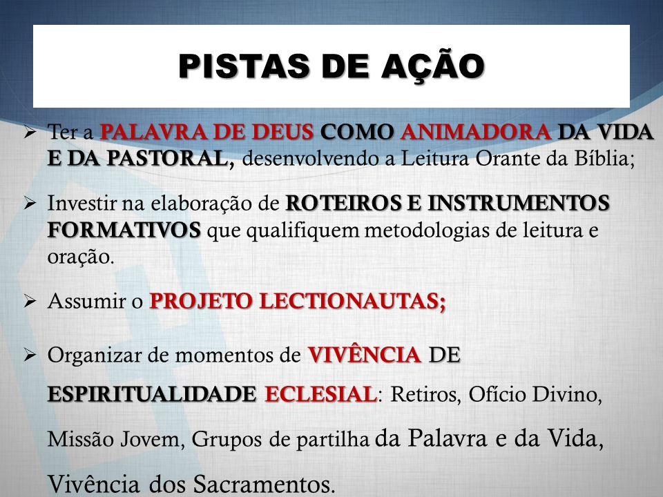 PISTAS DE AÇÃO PALAVRA DE DEUS COMO ANIMADORA DA VIDA E DA PASTORAL Ter a PALAVRA DE DEUS COMO ANIMADORA DA VIDA E DA PASTORAL, desenvolvendo a Leitur