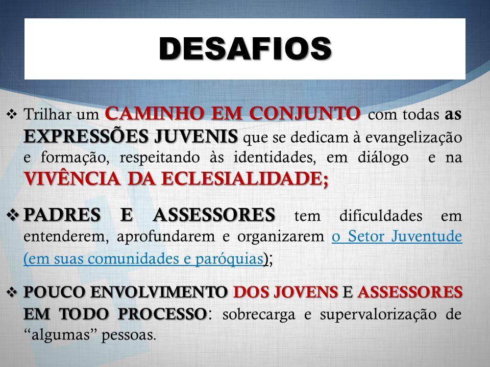 DESAFIOS CAMINHO EM CONJUNTO EXPRESSÕES JUVENIS VIVÊNCIA DA ECLESIALIDADE; Trilhar um CAMINHO EM CONJUNTO com todas as EXPRESSÕES JUVENIS que se dedicam à evangelização e formação, respeitando às identidades, em diálogo e na VIVÊNCIA DA ECLESIALIDADE; PADRES E ASSESSORES PADRES E ASSESSORES tem dificuldades em entenderem, aprofundarem e organizarem o Setor Juventude (em suas comunidades e paróquias) ; POUCO ENVOLVIMENTO DOS JOVENS E ASSESSORES EM TODO PROCESSO POUCO ENVOLVIMENTO DOS JOVENS E ASSESSORES EM TODO PROCESSO : sobrecarga e supervalorização de algumas pessoas.