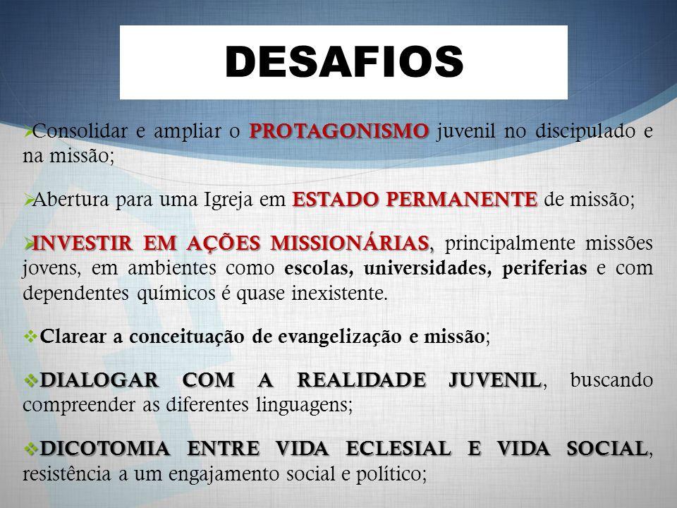 DESAFIOS PROTAGONISMO Consolidar e ampliar o PROTAGONISMO juvenil no discipulado e na missão; ESTADO PERMANENTE Abertura para uma Igreja em ESTADO PER
