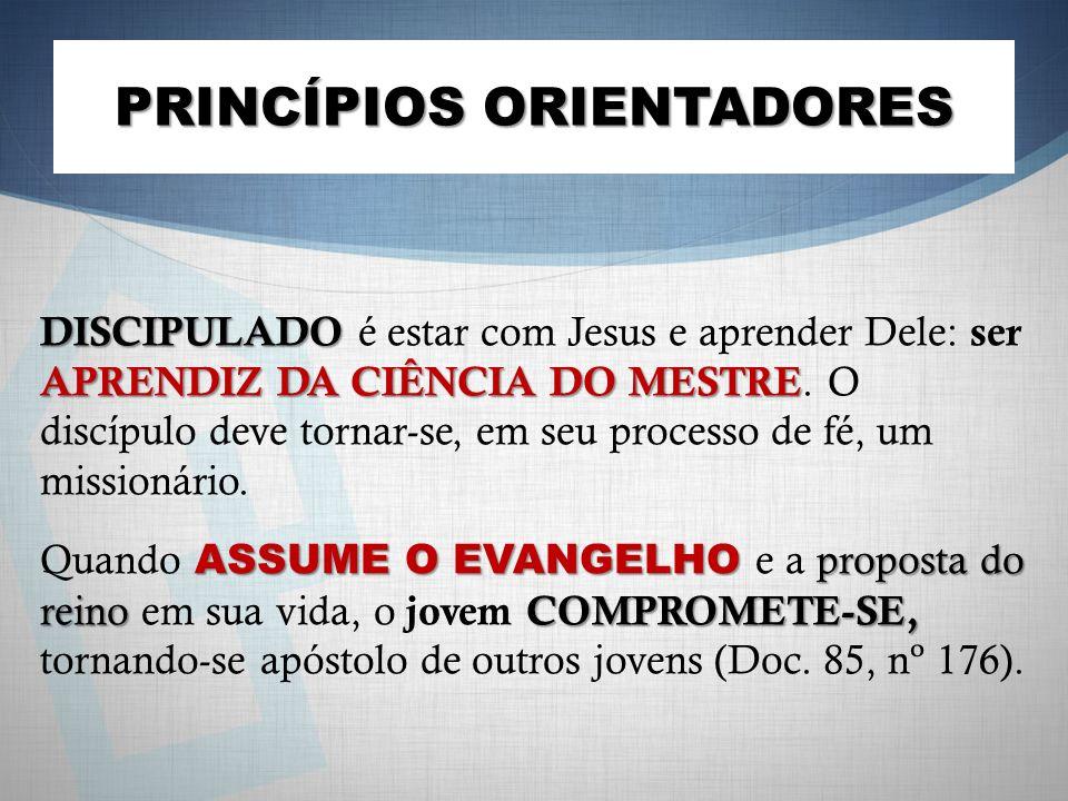 PRINCÍPIOS ORIENTADORES DISCIPULADO APRENDIZ DA CIÊNCIA DO MESTRE DISCIPULADO é estar com Jesus e aprender Dele: ser APRENDIZ DA CIÊNCIA DO MESTRE. O