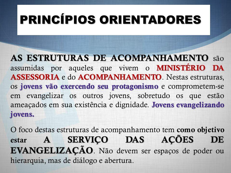 AS ESTRUTURAS DE ACOMPANHAMENTO MINISTÉRIO DA ASSESSORIA ACOMPANHAMENTO jovens vão exercendo seu protagonismo Jovens evangelizando jovens. AS ESTRUTUR