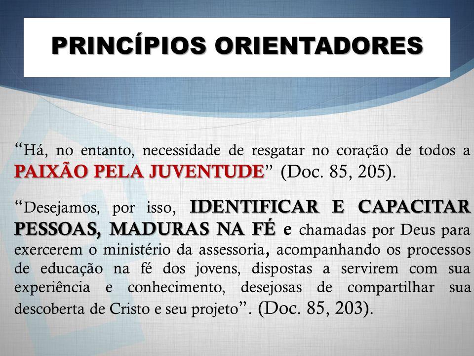 PRINCÍPIOS ORIENTADORES PAIXÃO PELA JUVENTUDE Há, no entanto, necessidade de resgatar no coração de todos a PAIXÃO PELA JUVENTUDE (Doc. 85, 205). IDEN