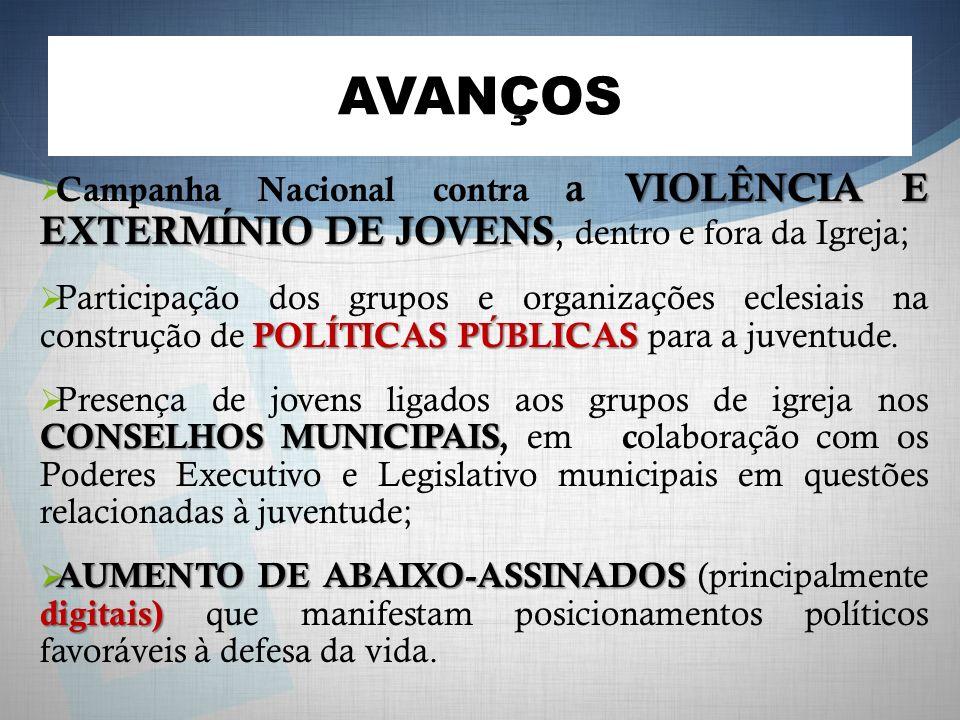AVANÇOS VIOLÊNCIA E EXTERMÍNIO DE JOVENS Campanha Nacional contra a VIOLÊNCIA E EXTERMÍNIO DE JOVENS, dentro e fora da Igreja; POLÍTICAS PÚBLICAS Part
