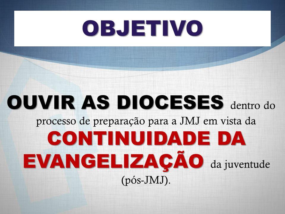 OBJETIVO OUVIR AS DIOCESES CONTINUIDADE DA EVANGELIZAÇÃO OUVIR AS DIOCESES dentro do processo de preparação para a JMJ em vista da CONTINUIDADE DA EVANGELIZAÇÃO da juventude (pós-JMJ).