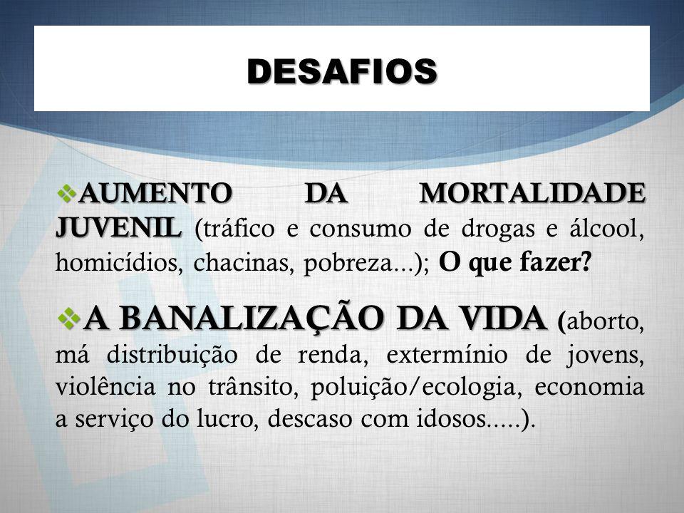 DESAFIOS AUMENTO DA MORTALIDADE JUVENIL AUMENTO DA MORTALIDADE JUVENIL (tráfico e consumo de drogas e álcool, homicídios, chacinas, pobreza...); O que