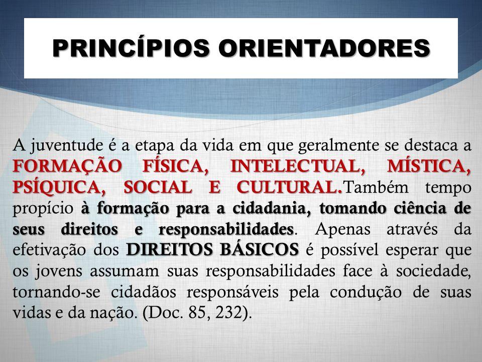 PRINCÍPIOS ORIENTADORES FORMAÇÃO FÍSICA, INTELECTUAL, MÍSTICA, PSÍQUICA, SOCIAL E CULTURAL. à formação para a cidadania, tomando ciência de seus direi