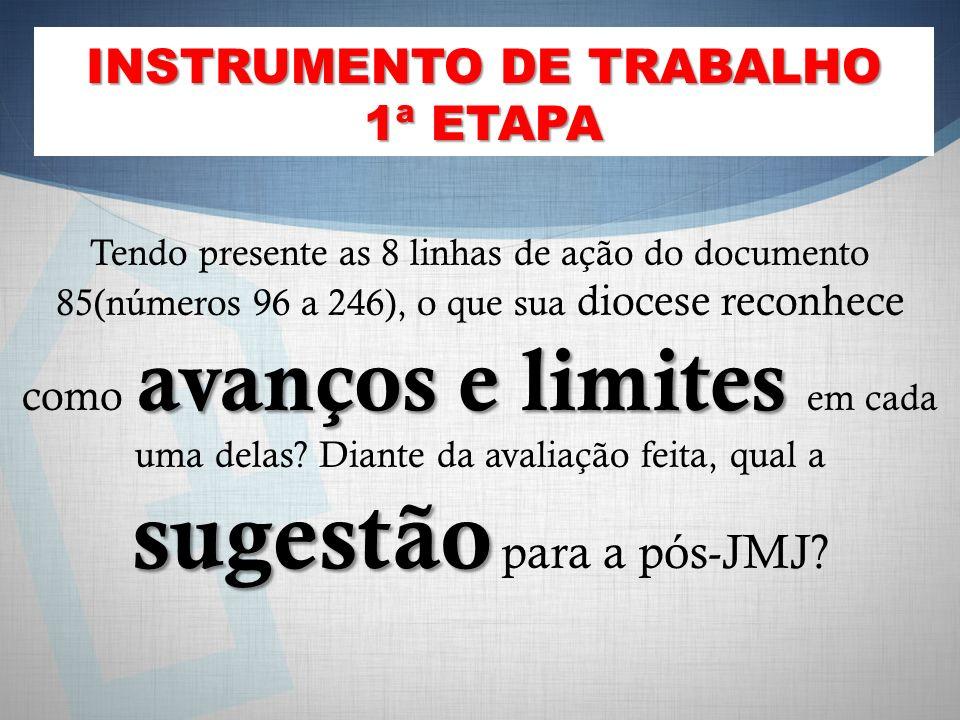 INSTRUMENTO DE TRABALHO 1ª ETAPA avanços e limites sugestão Tendo presente as 8 linhas de ação do documento 85(números 96 a 246), o que sua diocese reconhece como avanços e limites em cada uma delas.