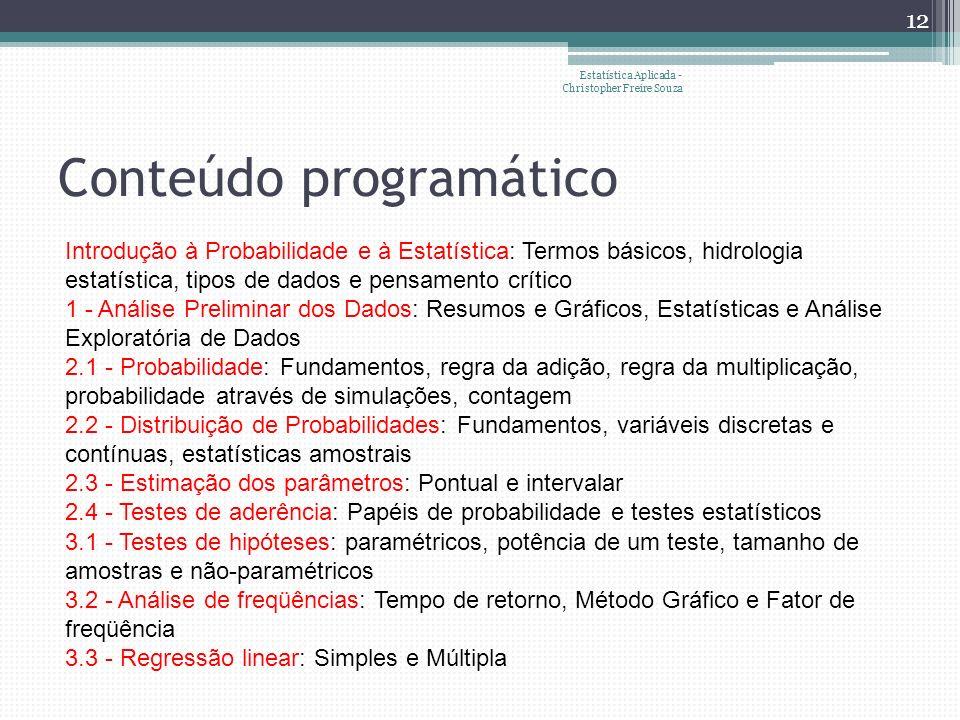 Conteúdo programático Introdução à Probabilidade e à Estatística: Termos básicos, hidrologia estatística, tipos de dados e pensamento crítico 1 - Análise Preliminar dos Dados: Resumos e Gráficos, Estatísticas e Análise Exploratória de Dados 2.1 - Probabilidade: Fundamentos, regra da adição, regra da multiplicação, probabilidade através de simulações, contagem 2.2 - Distribuição de Probabilidades: Fundamentos, variáveis discretas e contínuas, estatísticas amostrais 2.3 - Estimação dos parâmetros: Pontual e intervalar 2.4 - Testes de aderência: Papéis de probabilidade e testes estatísticos 3.1 - Testes de hipóteses: paramétricos, potência de um teste, tamanho de amostras e não-paramétricos 3.2 - Análise de freqüências: Tempo de retorno, Método Gráfico e Fator de freqüência 3.3 - Regressão linear: Simples e Múltipla 12 Estatística Aplicada - Christopher Freire Souza